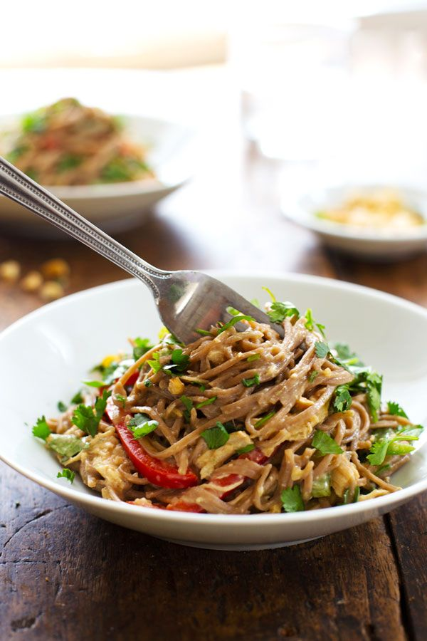 Spicy Peanut Chicken Soba Noodle Salad: colorful bell peppers, chewy soba noodles, shredded chicken.