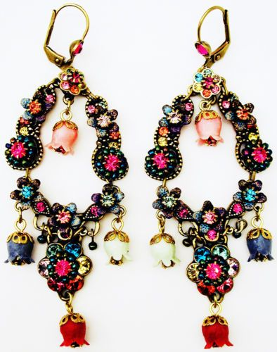 Michal-Negrin-Multicolor-Vintage-Style-Crystal-Bell-Beads-Earrings