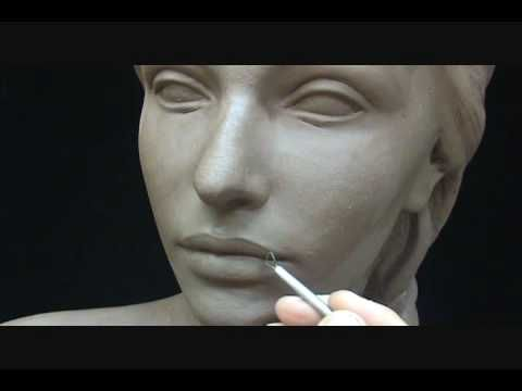 Sculpting a female head in clay. Sculpting tutorial and demo.