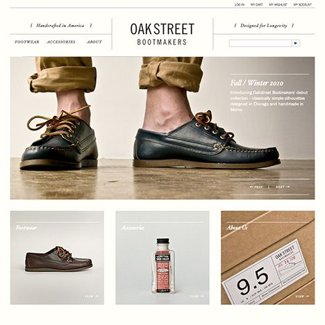 Oak Street Boot Makers. Great typography on this site. #webdesign #trends