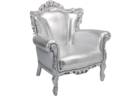 Odette Lounge Chair Ornate Rococo Wood Frame Finished In Chrome With Silver Leather Seat