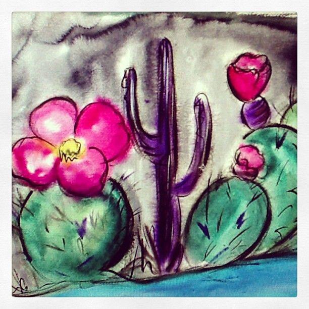 DeGrazia's desert blooms, watercolors on paper.