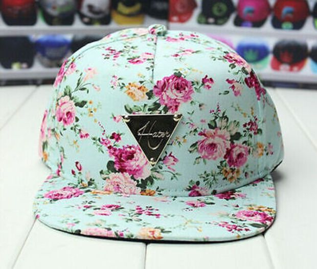 New Light Blue peony flower print Women's HIP POP SNAPBACK Cap BASEBALL kpop hat