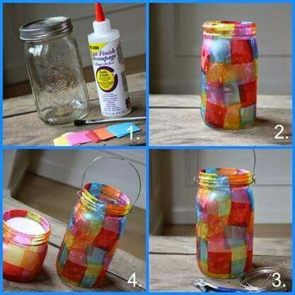 Jam jar lantern mother 39 s father 39 s day pinterest jar for Candle decoration with waste material