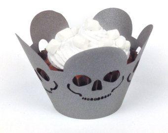 12 halloween teschio cupcake wrapper (carta grigia perlata)