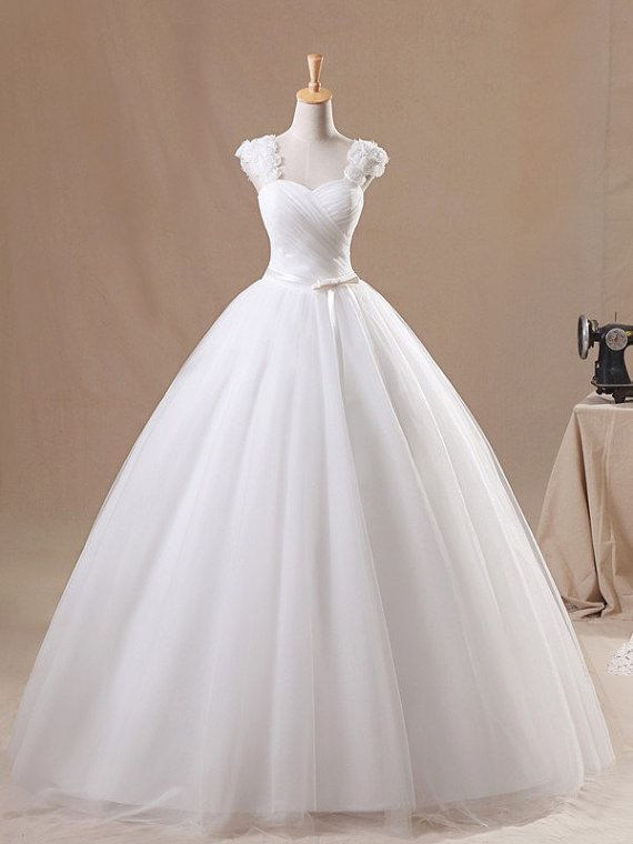 White Floral Ball Gown Straps Neckline Sweep Train Tulle Wedding Dress, wedding dresses, wedding gown, wedding gowns
