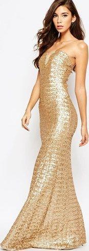 Vestido largo con lentejuelas Showstopper de TFNC asos el-marron Glamour