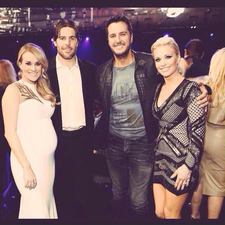 Carrie underwood, mike fisher, Luke Bryan, and his wife.