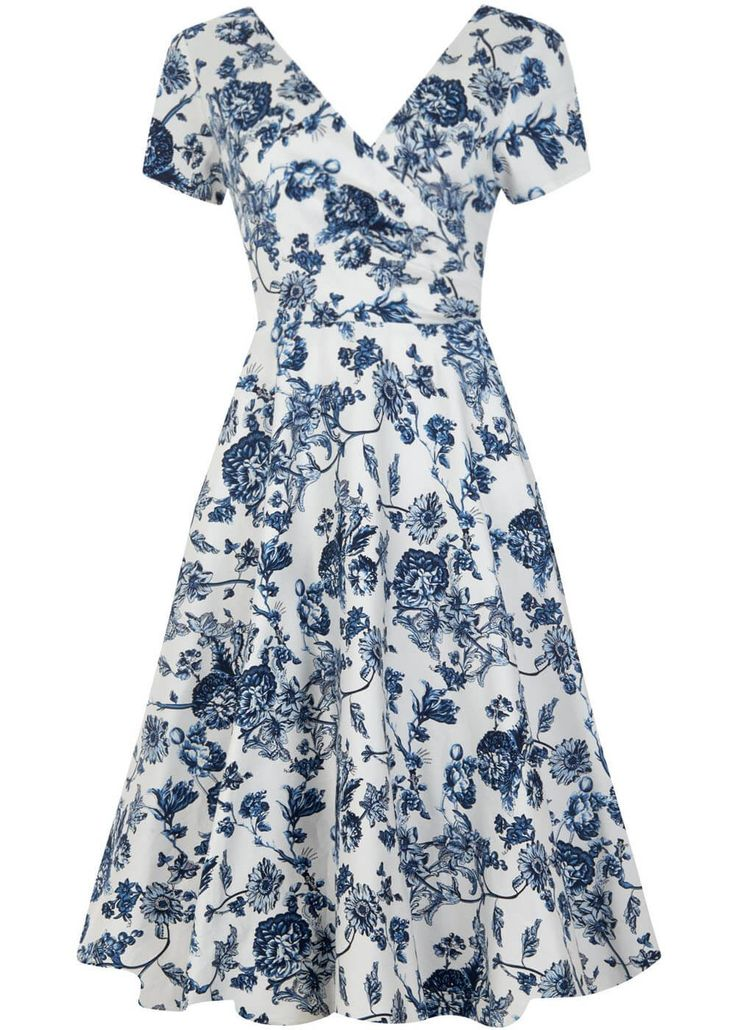 Collectif Maria Toile Floral Swing Jurk Wit - Plus Size - Dresses