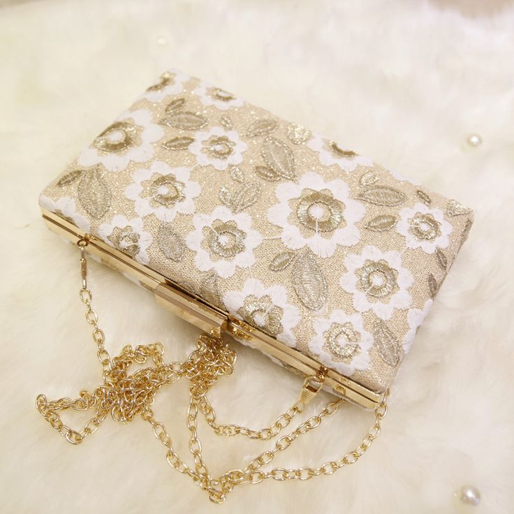 Bridal Wedding Lady Evening Bags Lace Floral Day Clutches Women Messenger Shoulder Bag Pouch Purse Party Girl Handbag With China