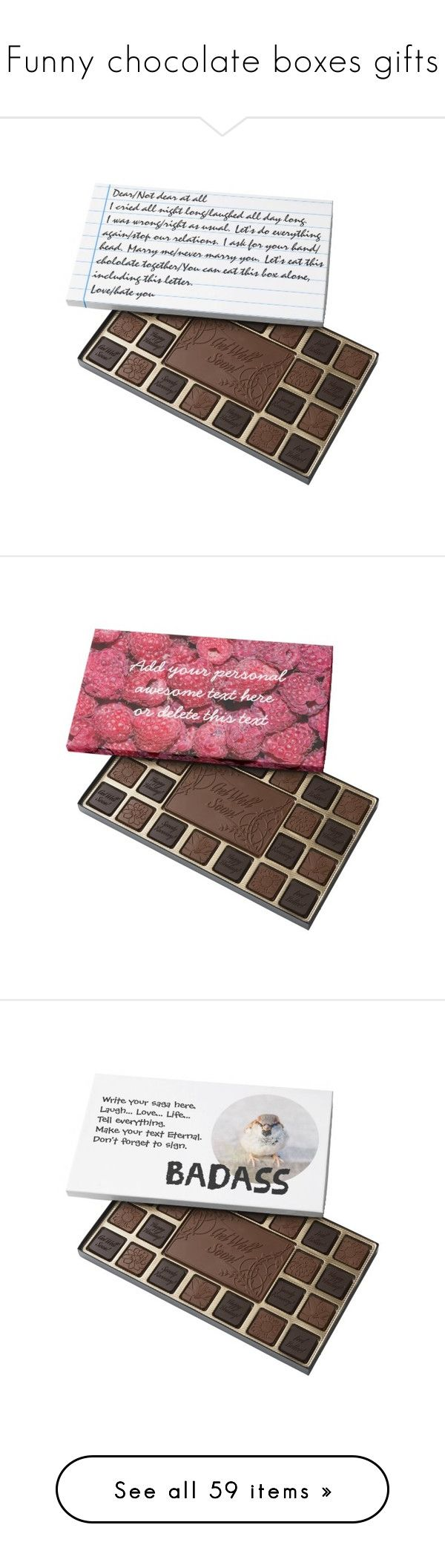 """""""Funny chocolate boxes gifts"""" by polyart-466 ❤ liked on Polyvore featuring home, home decor, holiday decorations, floral decor and kitchen & dining"""