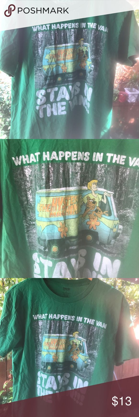 Men's Scooby Doo funny humor T-shirt stoner What happens in a van stays in the van I have an idea what that means men's large T-shirt on sale scooby doo Shirts Tees - Short Sleeve
