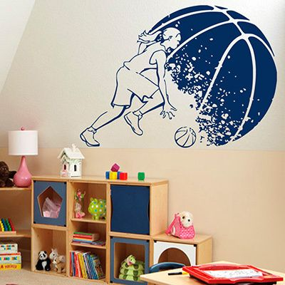 Basketball Girl Player Blue Aufkleber Vinyl Wall Art | Overstock.com Shopping – Die besten Angebote für Wandtapeten   – Paige's room