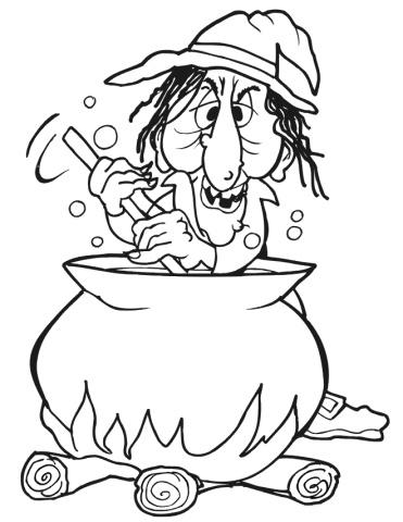 Witch Cauldron Desenho Bruxa Caldeirao Colorir Halloween Coloring
