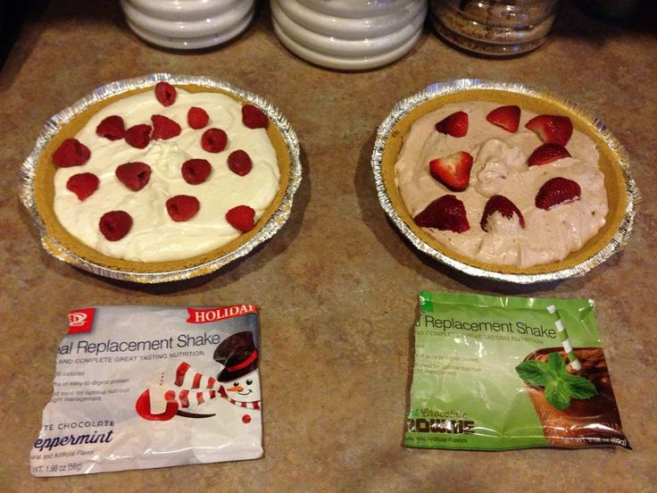 1 meal replacement shake pouch 1 cup plain yogurt 1-8 oz fat free kool whip Mix all together and pour into a low fat graham cracker crust. Top with your favorite fruit. Freeze a few hours and enjoy! If you would like to try one of our Meal Replacements for FREE, simply shoot me a message and I would be happy to mail one out to you!!