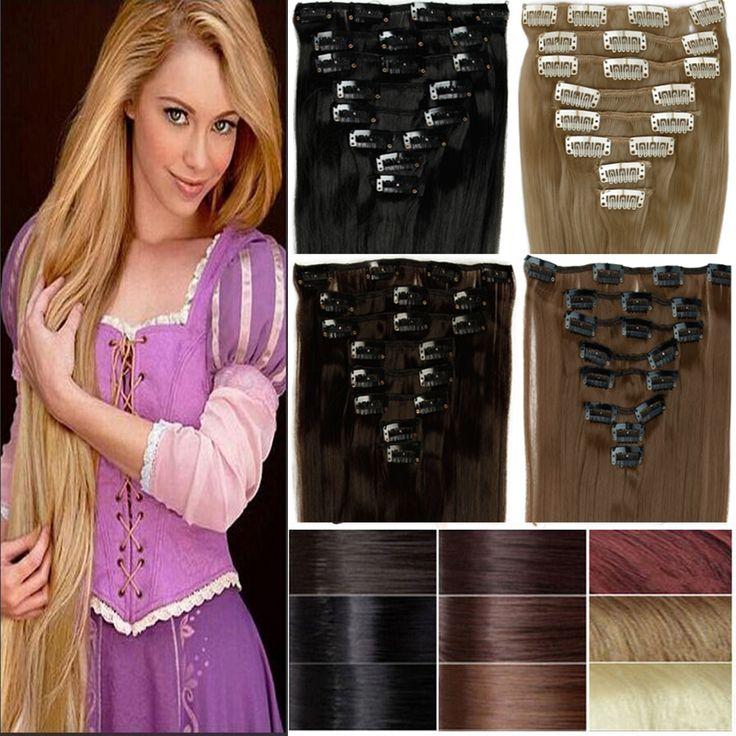 "8Pcs/set 23"" 60CM Long Mega Straight Full head Clip in Hair Extensions Black Brown Blonde red auburn 18clips on"
