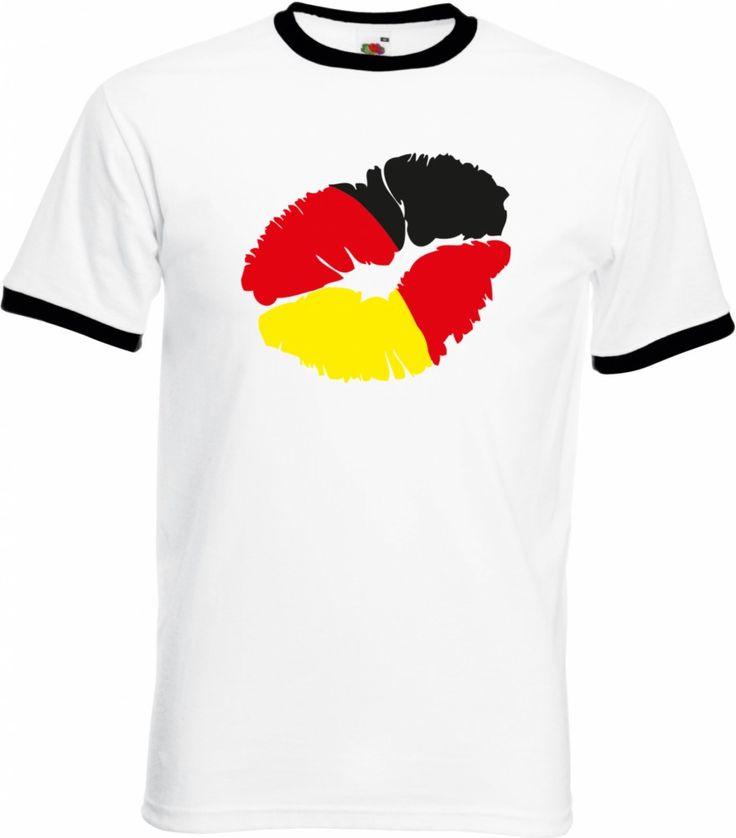 Kussmund Deutschland, Fußball Fan Herren Ringer T-Shirt