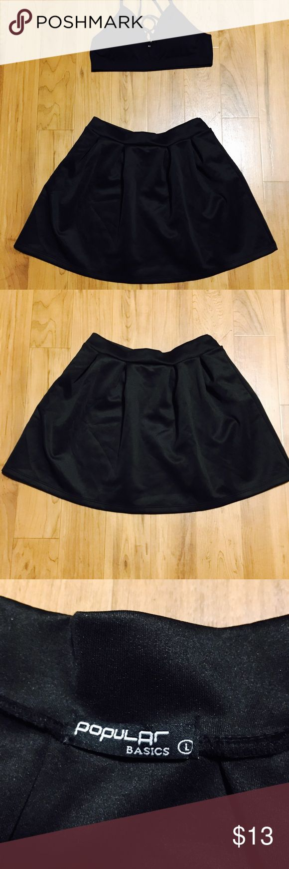 Popular Basic skater skirt👗👗👗 Popular Basic black skater skirt‼️ mini skater skirt...great for a night out‼️ popular basic Skirts Circle & Skater