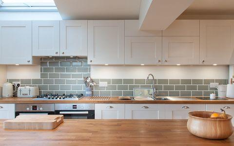 white shaker kitchen with green metro tiles