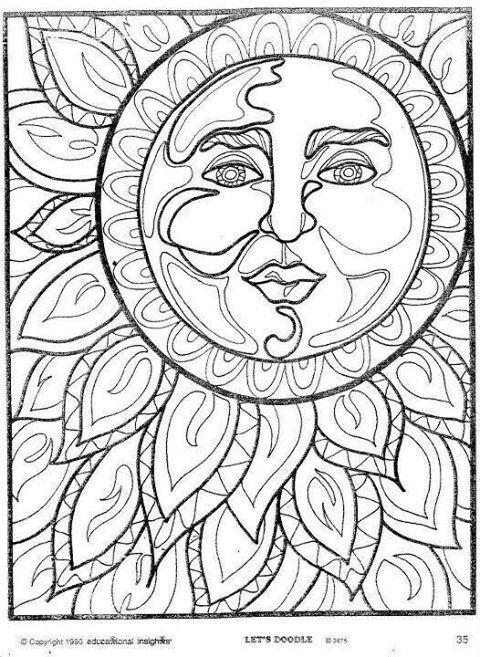 Mandala Para Colorear American Hippie Coloring Pages Art Psychedelic Sun
