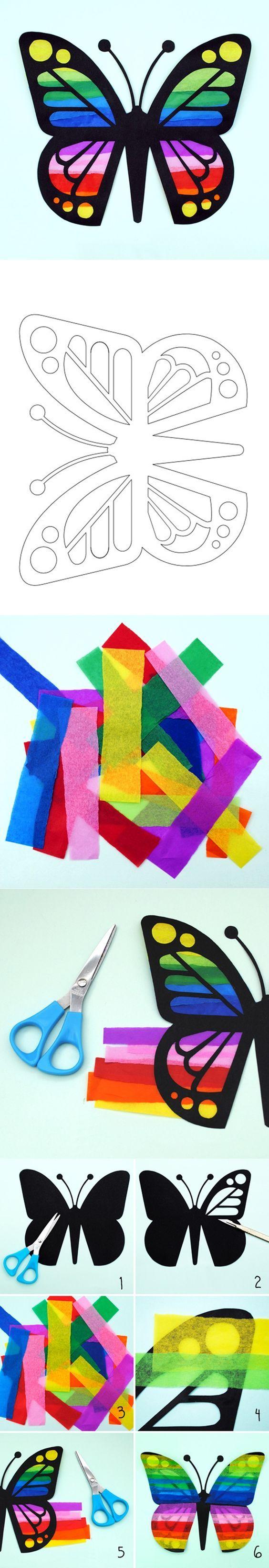 DIY Paper Butterfly Sun Catcher | www.FabArtDIY.com LIKE Us on Facebook ==> https://www.facebook.com/FabArtDIY: