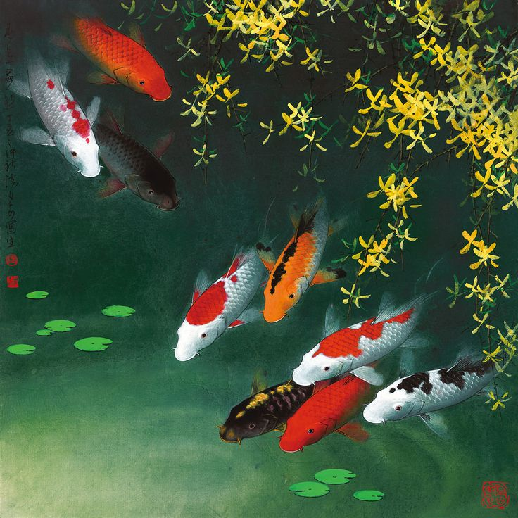 16 best koi fish paintings images on pinterest fish for Koi fish wall decor