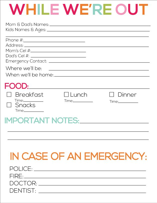 Printable babysitter notes from www.thirtyhandmadedays.com
