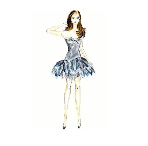 Vestido con corsé gris galena y transparente, bajo en curva, con falda de pluma…