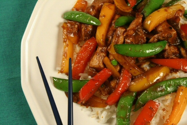 "... sweet potato chicken stir fry with red pepper and sugar snap peas"" oh"