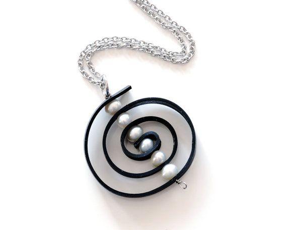Upcycled inner tube spiral pendant. Large by LivelyLeafDesigns, $35.00