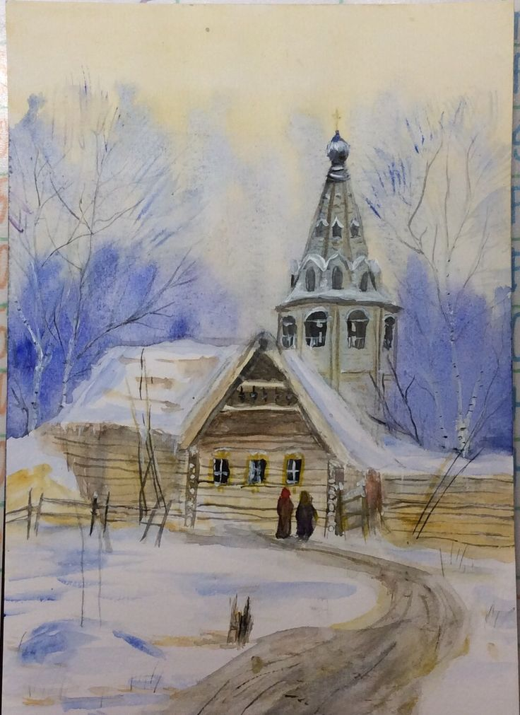 "My first ""real try"" in watercolor. It isn't my own idea. I painted it after one lesson with an artist) #watercolor#drawing#church#painting#colors#winter#"