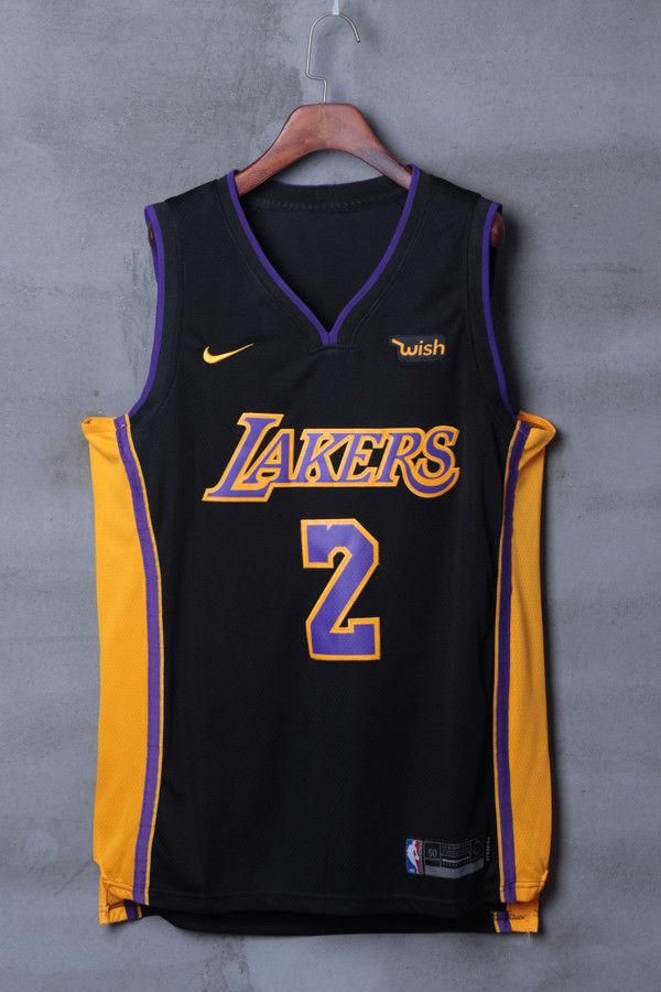 8fd4886f5 Men  2 Lonzo Ball Jersey Black Los Angeles Lakers Jersey Authentic Player