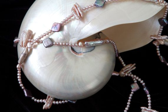 Pearl Necklace Genuine Pearls - long necklace african violet