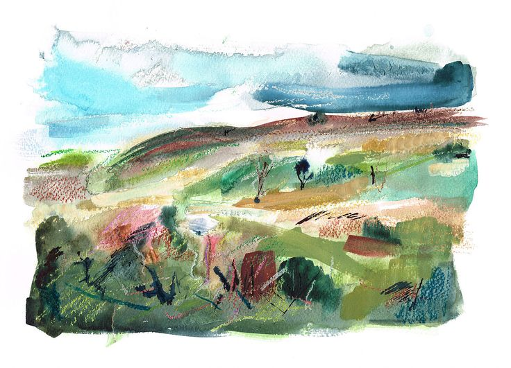 William Watson-West's current collection of mixed media paintings inspired by The Lake District, Yorkshire Dales, flora and fauna of the British Isles.  View From Brimham by William Watson-West - Watercolour, pastel, ink and gouache on paper 23cm x 33cm £325