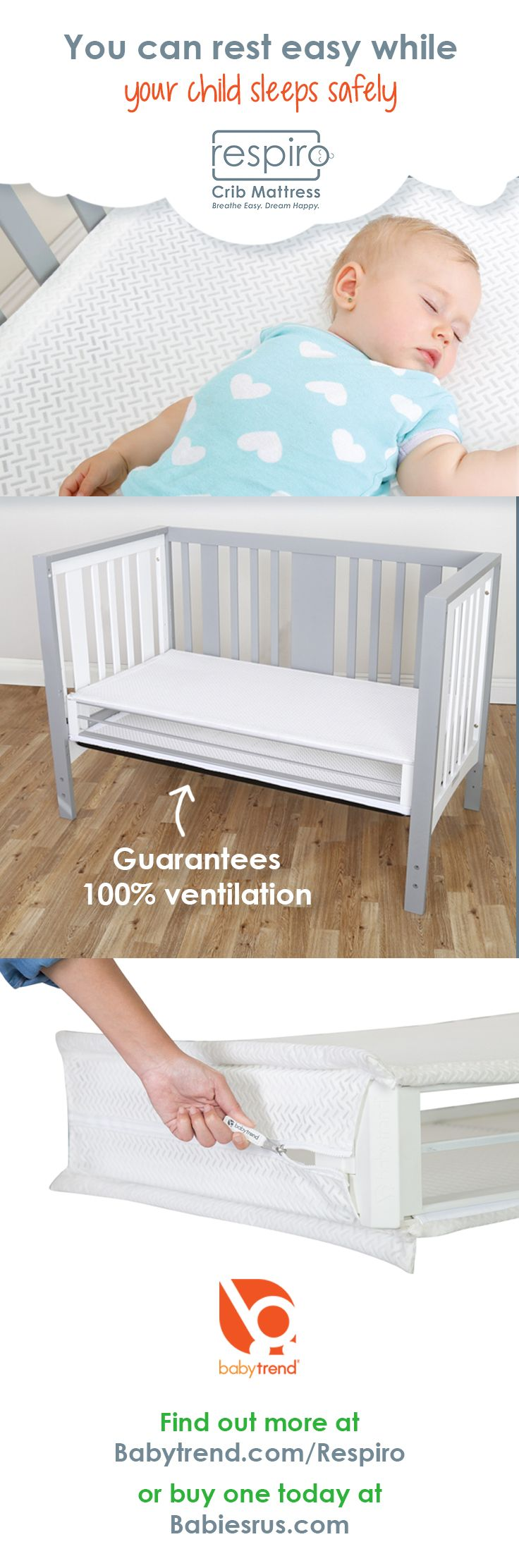 The Baby Trend RespiroTM crib mattress is completely breathable and  guarantees 100% ventilation. Available