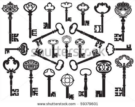 Collection Of Antique Keys Stock Vector 59379601 : Shutterstock  different colors