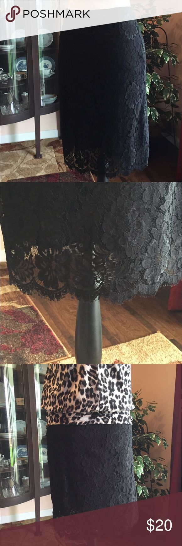 EUC black lace Brooks Brothers Petite skirt 10 EUC black lace Brooks Brothers Petite skirt 10. Fully lined. Approximate measurements when laid flat are waist 14, length 23.5. Comes from a smoke free home, thank you! Brooks Brothers Skirts Midi