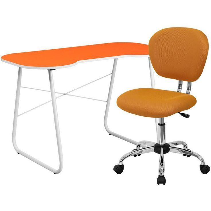 Flash Furniture NAN-14-GG Orange Computer Desk and Mesh Chair