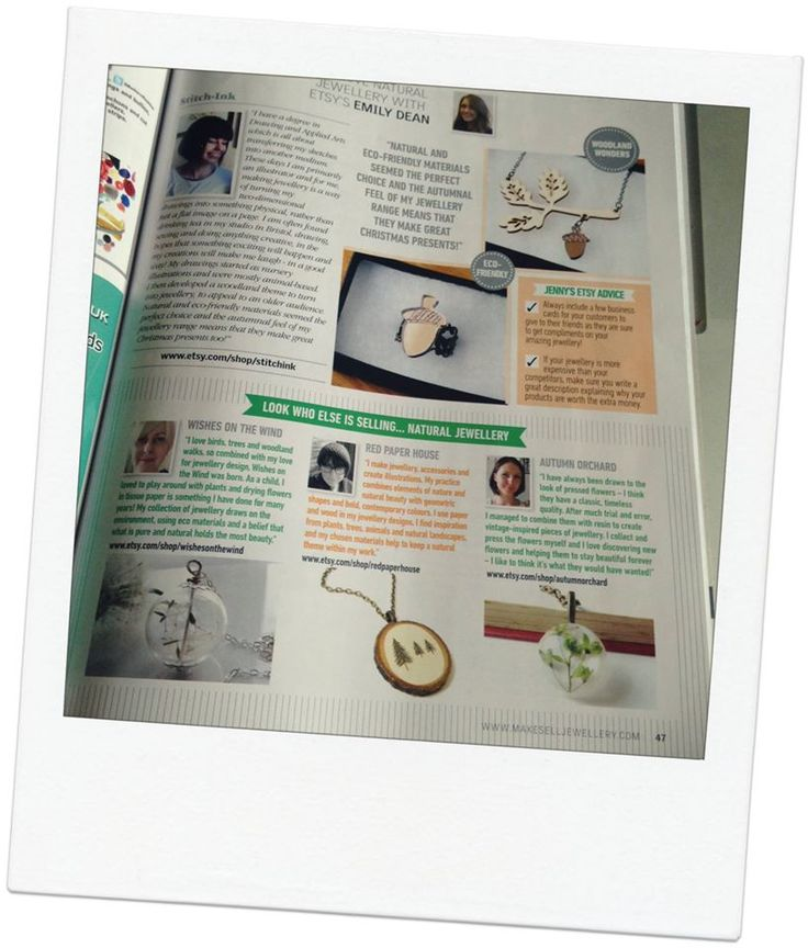 Featured In the October edition of Make and Sell Jewellery Etsy Finds section. Edition is Autumn Nature themed and features my Illustrated Tree Necklace on page 47!