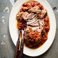 """""""Asian"""" pulled pork. I would probably just do this in the slow cooker, rather than the oven."""