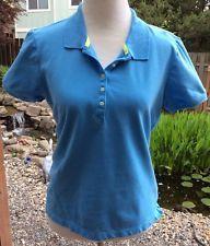 IZOD Womens Golf Athletic Sports Polo Shirt Blue Short Sleeve Stretch Size XL