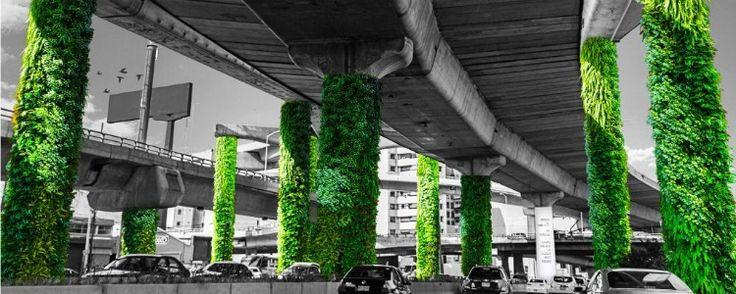 México transforma colunas de viadutos em jardins verticais - A Cidade do México inaugurou recentemente uma intervenção urbana enorme. São 60 mil metros quadrados de jardins espalhados sob um viaduto que corta 27 quilômetros da cidade. As pilastras deixaram o cinza do concreto para trás e ganharam diferentes tons de verde.  O projeto é financiado por inve... - http://www.ecoadubo.blog.br/ecoblog/2016/07/23/mexico-transforma-colunas-de-viadutos-em-jardins-verticais/