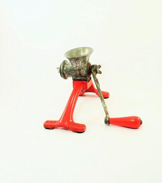 Red Spong Mincer 301 Meat Grinder Meat Mincer by ClockworkRummage