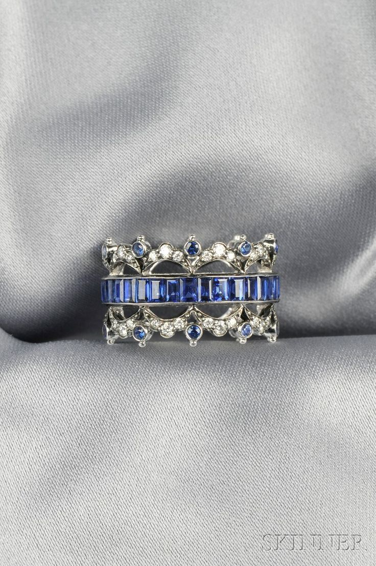 18kt White Gold, Sapphire, and Diamond Band, Fred Leighton, channel-set with emerald-cut sapphires, circular-cut sapphire and full-cut diamond melee accents