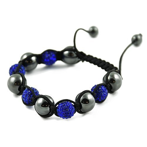 Shamballa Hematite Black Cord Adjustable Bracelet with Alternating Blue and Gray Crystal CZ Beads Contempo Culture