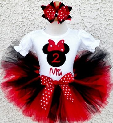Red Polka Dot Birthday Mouse Tutu Outfit-minnie mouse, mickey, disney, red and black birthday, tutu, set, outfit, baby girl