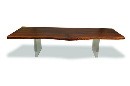 Rotsen Solid claro walnut slab dining table with plexiglas base. Live edge wood.