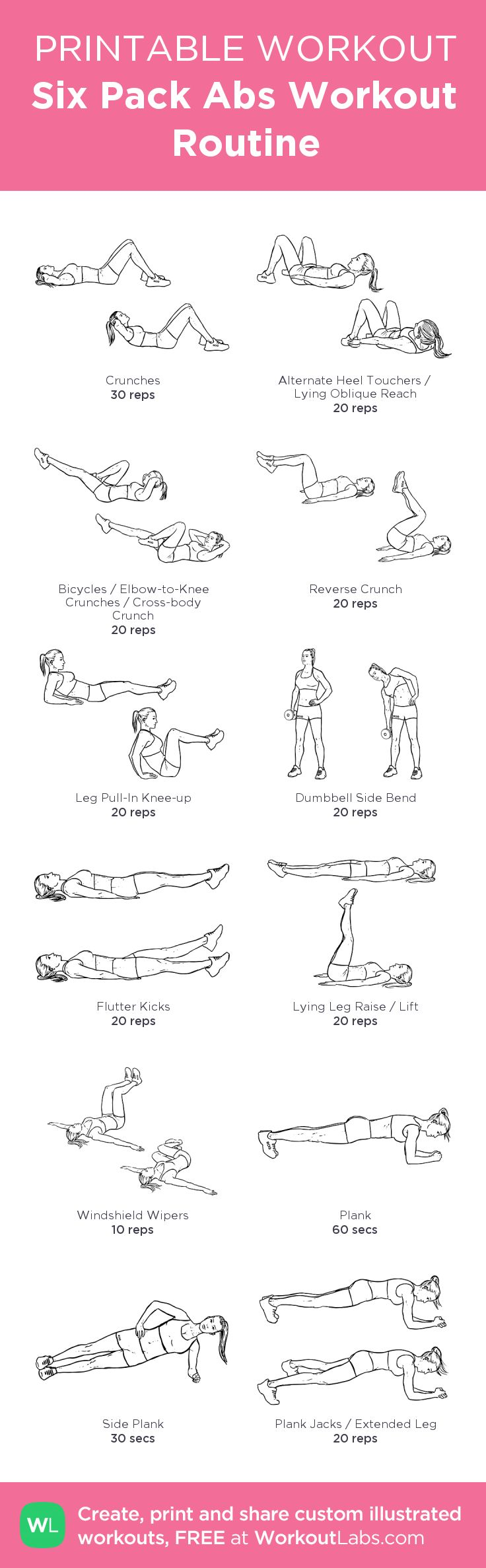 Six Pack Abs Workout Routine: my visual workout created at WorkoutLabs.com • Click through to customize and download as a FREE PDF! #customworkout