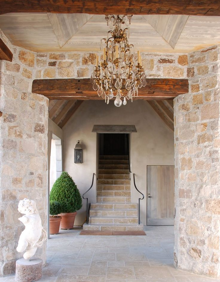 Stone and wood beautyRustic Elegant, Summer House, Stones Wall, Ceilings Design, Home Entry, Stone Walls, French Country, Entrance Hall, Wood Beams