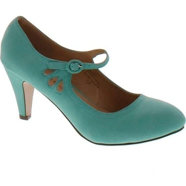 Chase And Chloe Kimmy-21 Mary Jane Teardrop Cutout T-Strap Pump Heel... ❤ liked on Polyvore featuring shoes, pumps, mint pumps, t-strap shoes, cut out shoes, t bar shoes and t strap mary jane shoes